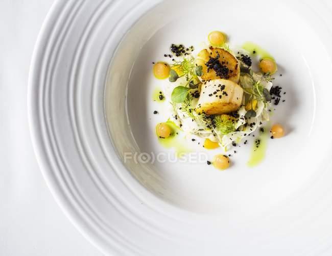 Capesante con finocchio e melone su piatto bianco — Foto stock