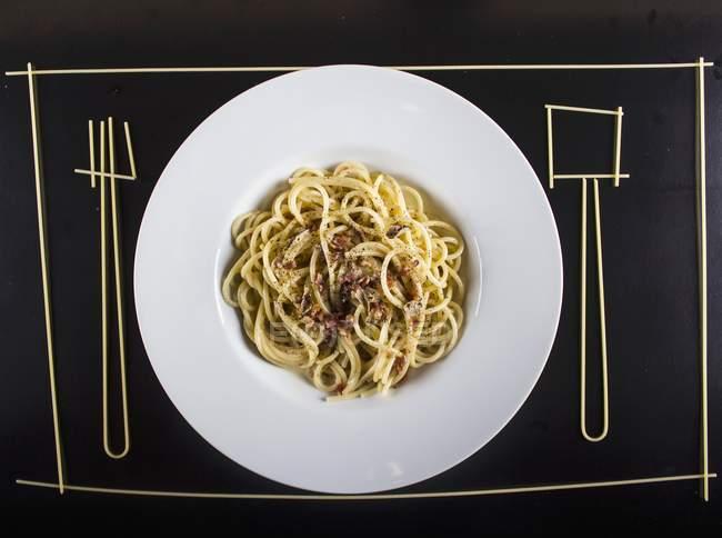 Pasta alla carbonara spaghetti — Foto stock