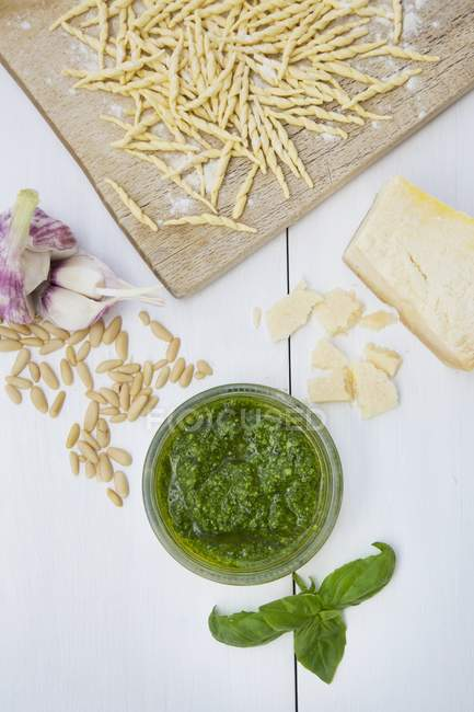 Pesto genovese and trofie pasta — Stock Photo