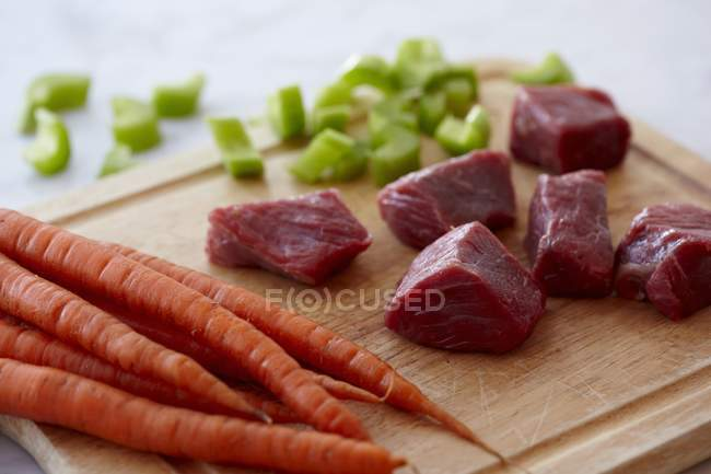 Chunks of Raw Beef — Stock Photo