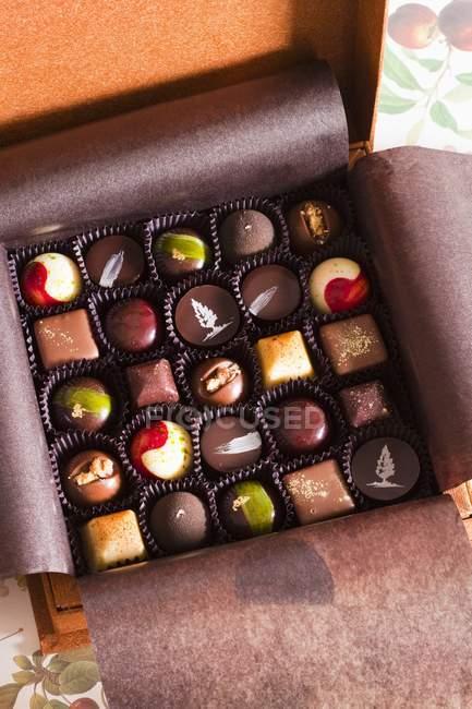 Box of Assorted Gourmet Chocolates — Stock Photo