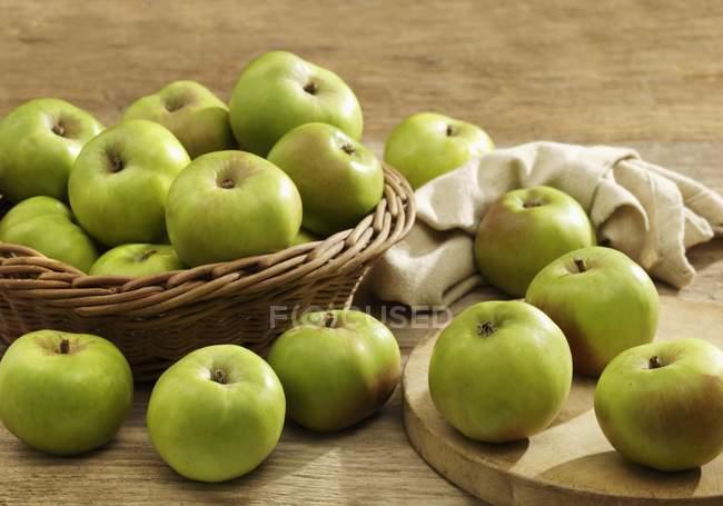 Green Bramley apples — Stock Photo