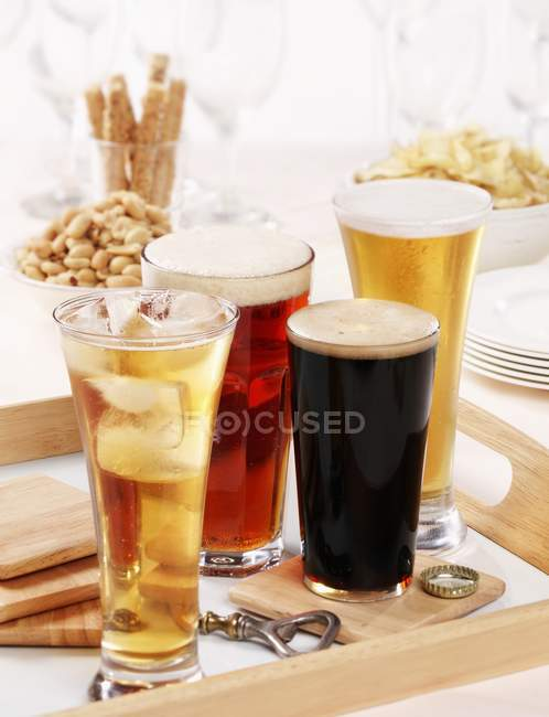 Разнообразные бокалы пива — Stock Photo