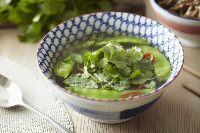 Noodle soup with mange tout — Stock Photo