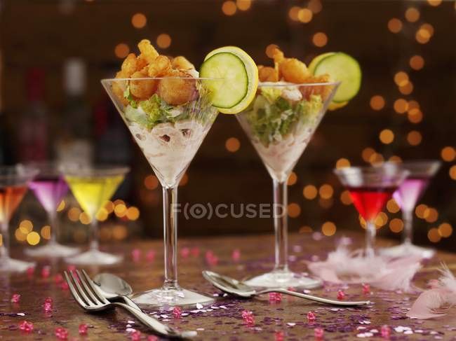 Portions of prawn cocktail — Stock Photo