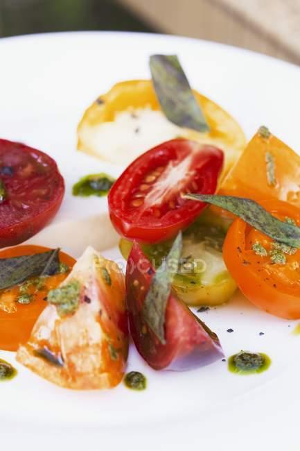 Insalata di pomodori con basilico fresco — Foto stock
