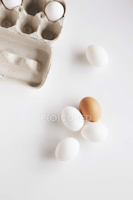Scatola dell'uovo e uova fresche — Foto stock