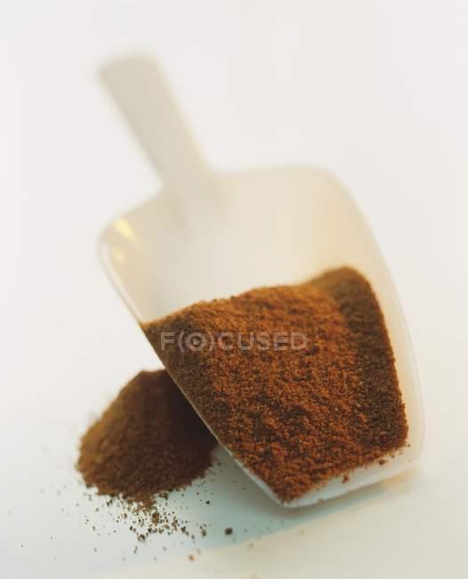 Pimentón en una cucharada de plástico - foto de stock