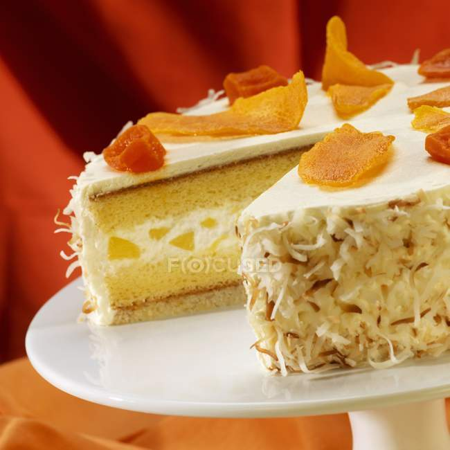 Pineapple Cream Cake Topped with Dried Mango — Stock Photo