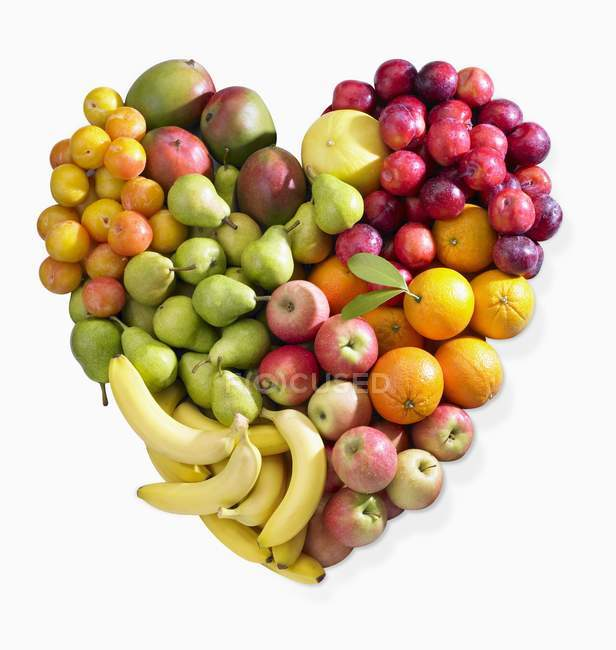 Fruit heart shape — Stock Photo