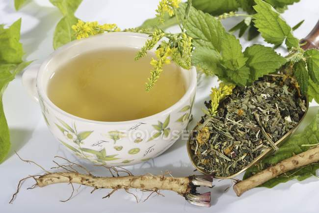 Herbal tea with herbs and medicinal plants — Stock Photo