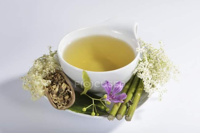 Tisane aux fleurs et plantes médicinales — Photo de stock