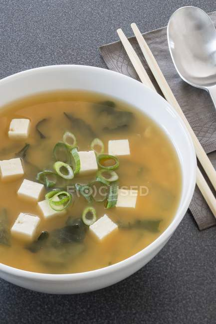 Miso soup with tofu — Stock Photo
