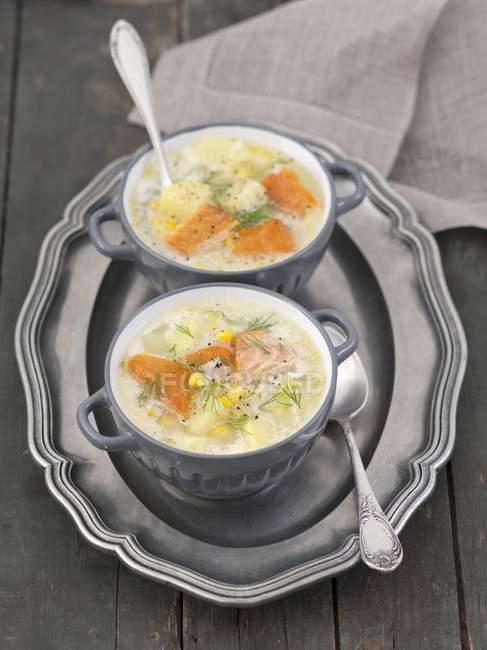 Sopa de pescado con salmón ahumado en caliente - foto de stock