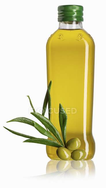 Bottle Of Olive Oil White Background Food And Drink