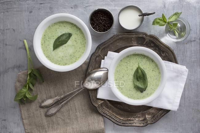 Top view of basil and soured milk soup — Stock Photo