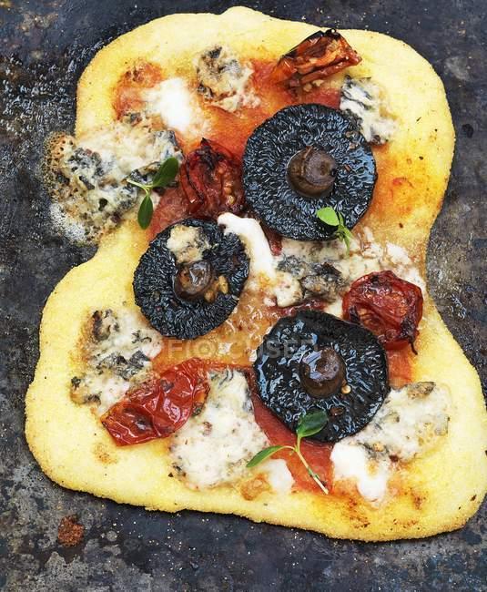 Пицца с грибами и сыром — стоковое фото