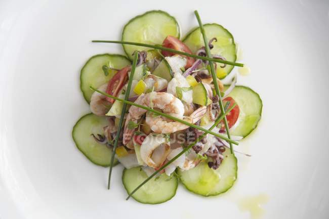 Seafood salad with cucumber — Stock Photo