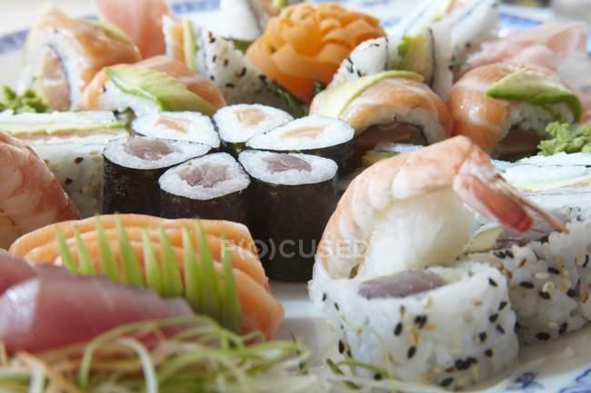 Various types of sushi — Stock Photo