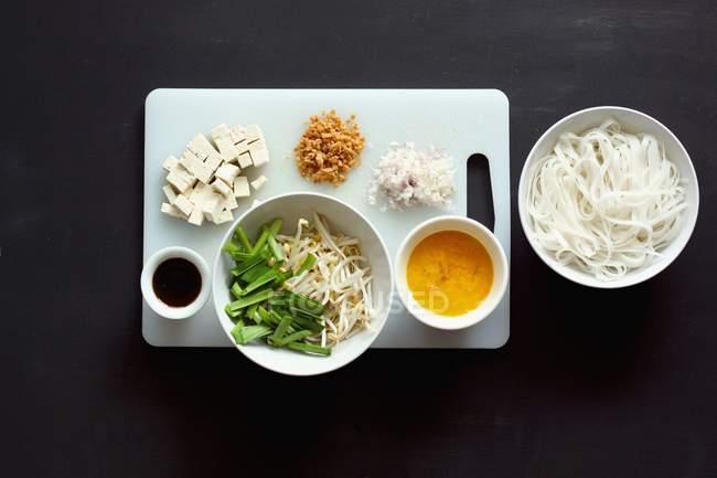 Zutaten für Pad Thai Nudeln — Stockfoto