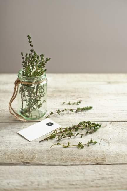 Frasco de hierba de tomillo - foto de stock