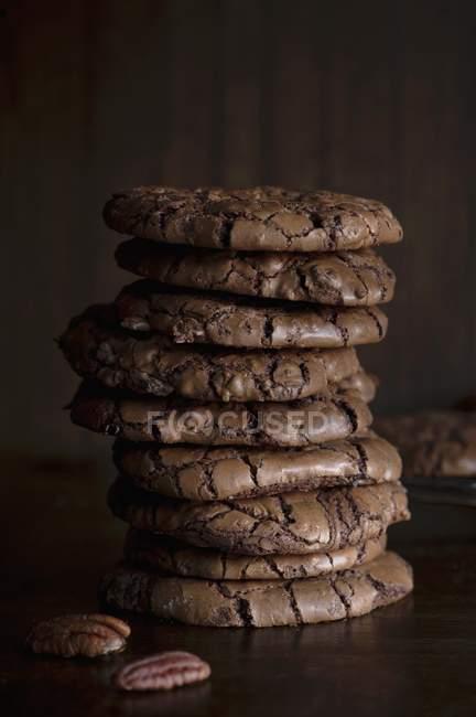 Biscuits au chocolat et noix de pécan — Photo de stock