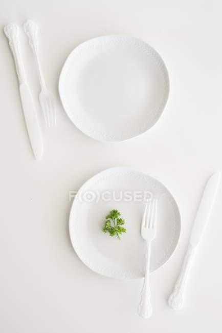 Vista superior do brancos pratos, talheres e salsa — Fotografia de Stock
