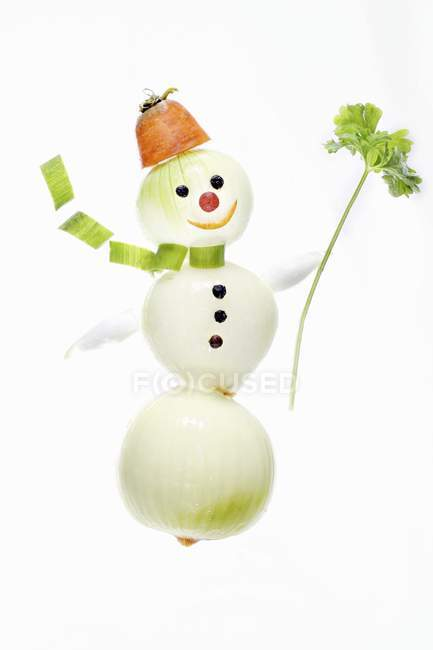 Snowman made from onions — Stock Photo