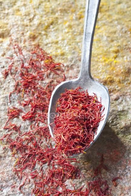 Saffron threads with spoon — Stock Photo