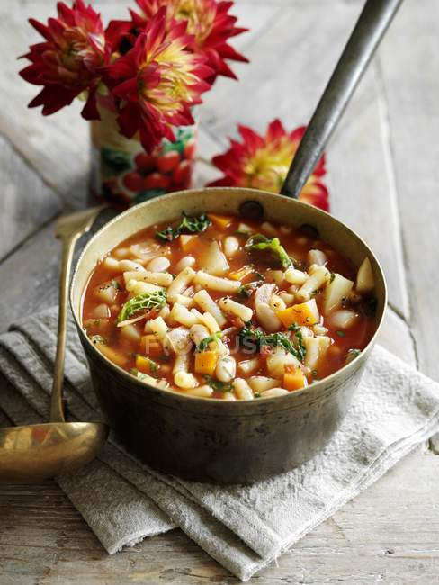 Macaroni with vegetables soup — Stock Photo