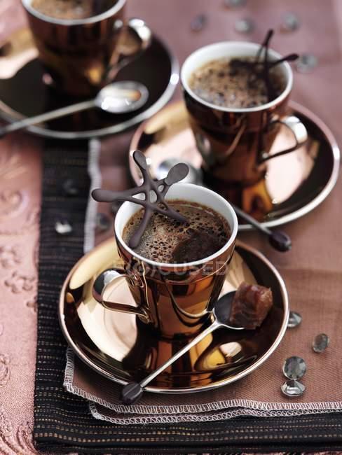 Cappuccino mit Schokosternen — Stockfoto