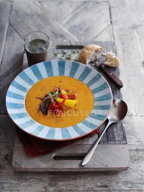 Sahnesuppe mit gegrilltem Gemüse — Stockfoto