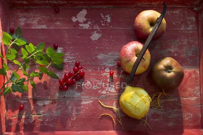 Frische Äpfel und Zitronen — Stockfoto