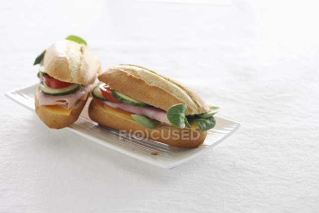 Baguette sandwiches with ham — Stock Photo