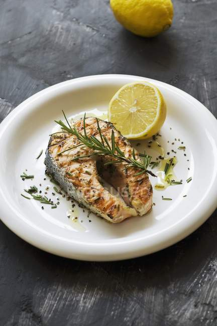 Grilled salmon with rosemary — Stock Photo