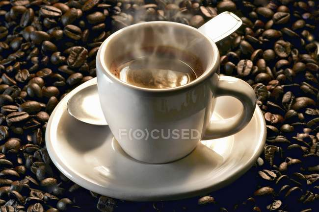 Steaming cup of espresso — Stock Photo