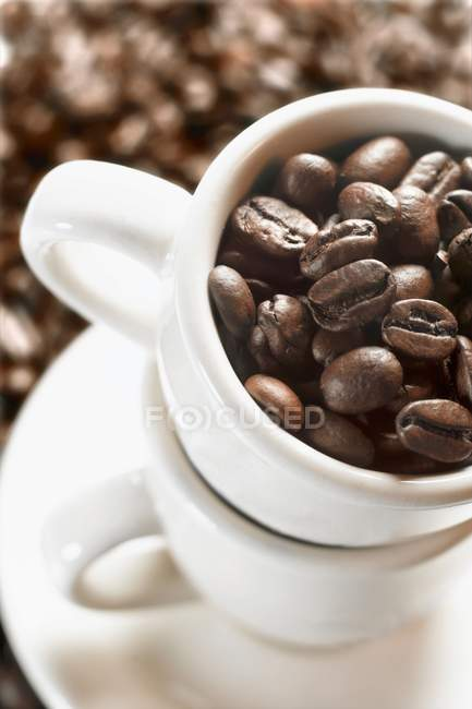 Coffee beans in espresso cups — Stock Photo