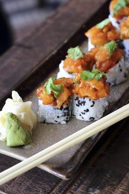 Salmon sushi rolls — Stock Photo