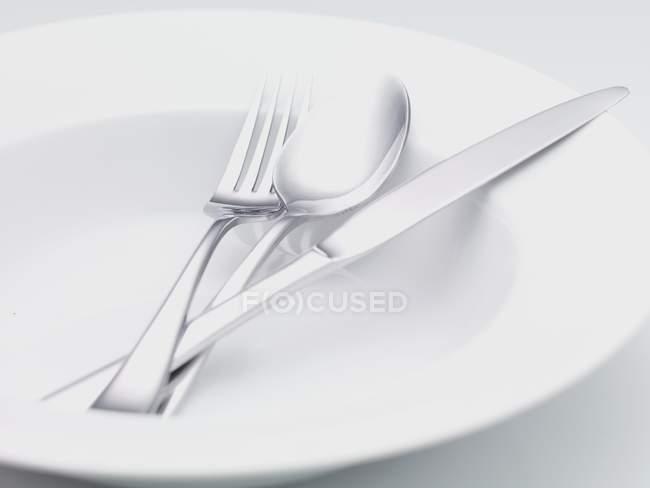 Vista de cerca de metal cubiertos en un plato de sopa - foto de stock