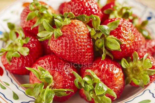 Bol de fraises biologiques — Photo de stock