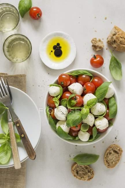 Italian caprese salad with bread and tomatoes — Stock Photo