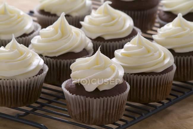 Bolinhos de chocolate com creme de queijo — Fotografia de Stock