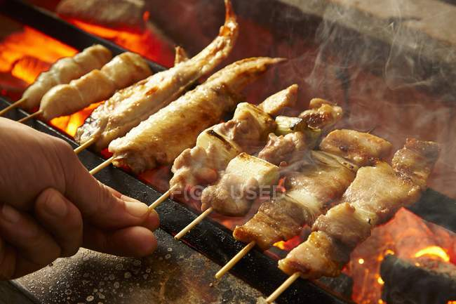 Closeup view of hand holding chicken kebabs on a barbecue — Stock Photo