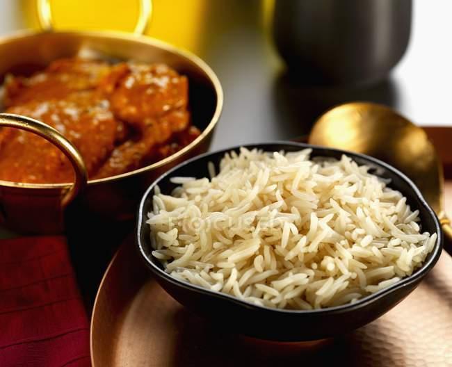Riz basmati et curry de boeuf — Photo de stock
