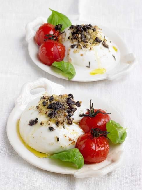 Mozzarella al forno con briciole di olive, pomodori e basilico sulle zolle bianche — Foto stock