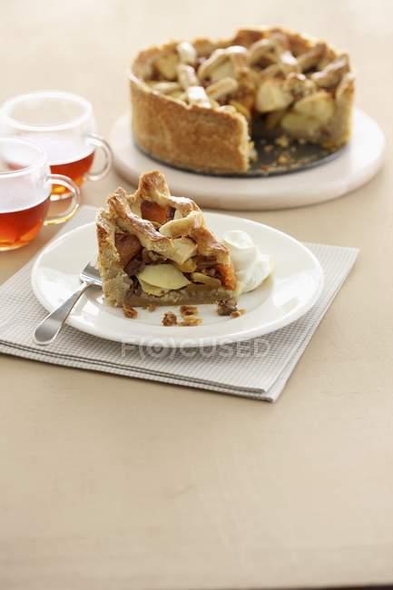 Torta di mele con una parte superiore della grata — Foto stock