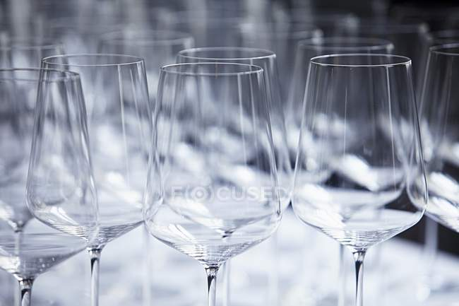 Closeup view of wine glasses tops — color image, selective focus