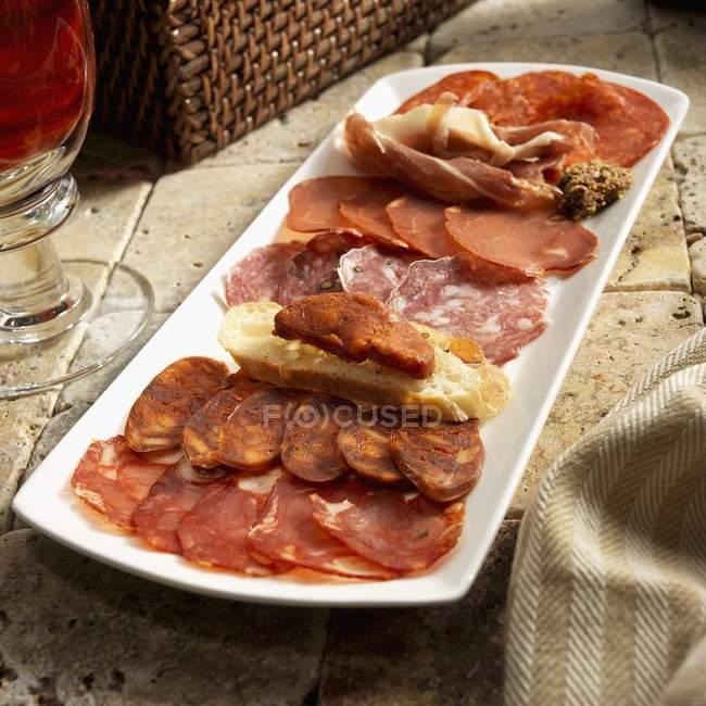 Іспанська charcuterie блюдо з Сорія Picante — стокове фото