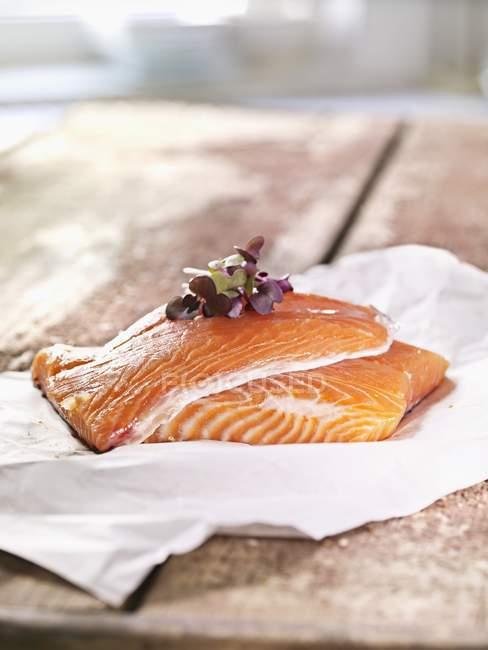 Два сирих лосося стейки — стокове фото