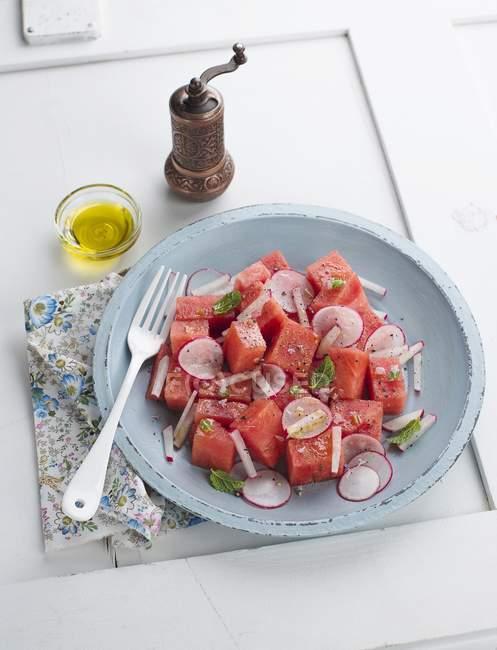 Ensalada de melón y rábano en placa - foto de stock